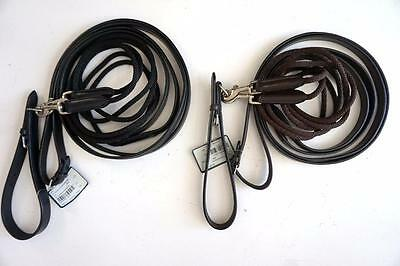 """HDR Draw Reins English Training Riding Rounded Nylon/ Leather Snap 108"""" Ea Side"""