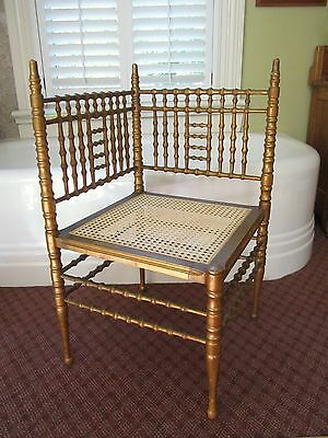 Heywood Wakefield Victorian Caned Corner Chair giltwood turned spindle 1900s