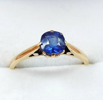 Antique Edwardian 18ct Gold Solitaire Ceylon Sapphire Ring Size N / Engagement