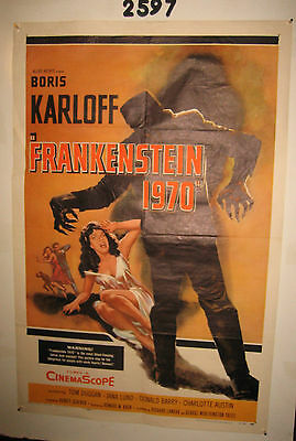 Frankenstein 1970 Original 1sh Movie Poster 1958 Boris Karloff,