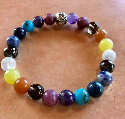 ॐCrystal Blissॐ Bracelet for Stress Calming Good Luck Spiritual Mala Reiki Yoga
