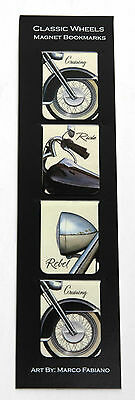 Pack of 4 - Classic Motorcycle Wheel Magnetic Bookmarks, Present, Gift, Birthday