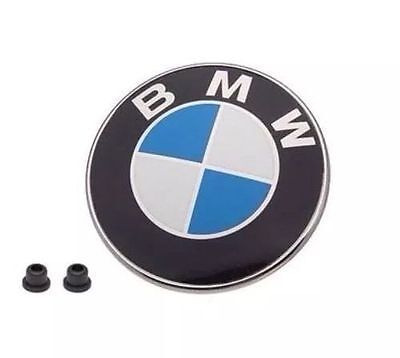 BMW Front Hood Or Rear Trunk Emblem Logo Badge 82MM / 2 grommets Genuine