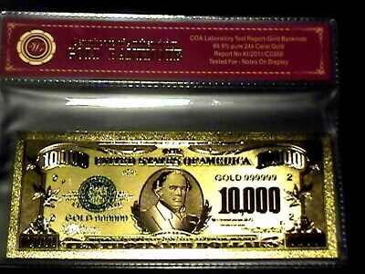 99.9% 24K Gold $10,000 Bill Us Banknote In Protective Sleeve W Coa