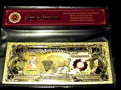 99.9% 24K Gold 1901 $10 Bill Us Banknote In Protective Sleeve W Coa