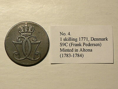 Denmark 1771, 1 Skilling, Minted in Altona ( 1783 -1784), Thick C,  #5559