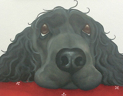 black cocker spaniel painting fine art giclee print picture by Lizzie Hall