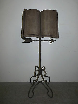 Vintage Wrought Iron Faux Bamboo Bible Book Music Stand Regency Style 112705