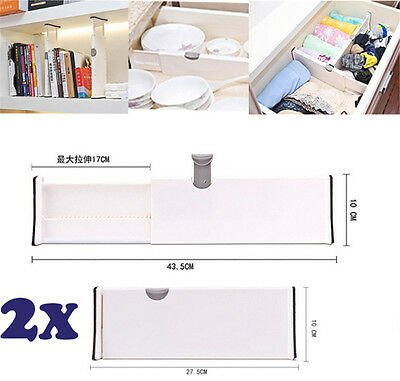2pcs Drawer Dividers White Spring Loaded Expandable Kitchen Bedroom Organizer EA