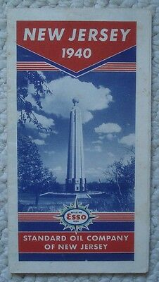 1940 Esso New Jersey Road Map