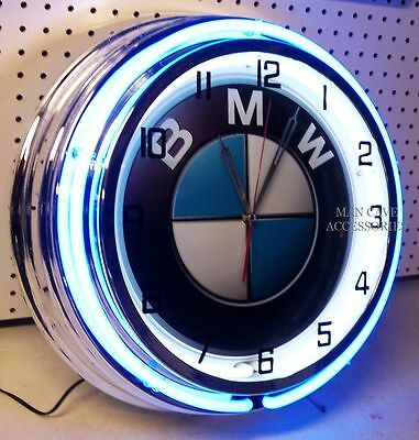 "18"" BMW Sign Double Neon Clock"