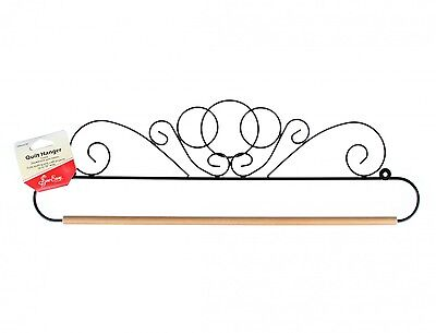 SCROLL DESIGN QUILT HANGER HOLDER, 18 Inch Black With Dowel Rod From Tacony NEW