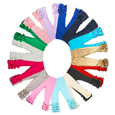 Baby Infant Girls Pants Toddler Kids Icing Ruffle Cotton Leggings Multi Colors