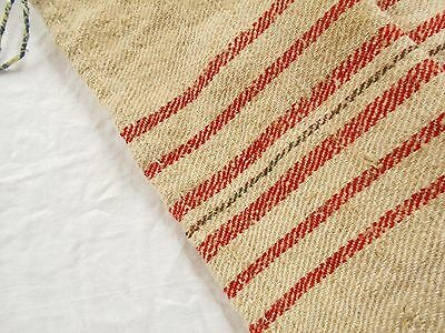 Vtg Antique RED STRIPE HUNGARIAN HEMP LINEN Fabric FEED SACK GRAIN BAG 18X43