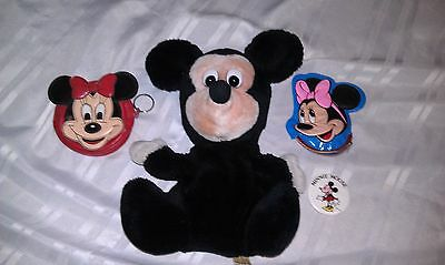 Vintage Disney 2 Minnie Mouse Coin Purse, Mickey Mouse Puppet & Pin  Disneyland
