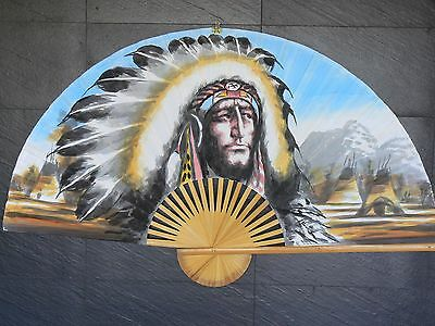 "NATIVE AMERICAN Extra Large 60"" HAND PAINTED ASIAN WALL FAN 151cm x 90cm.50% off"
