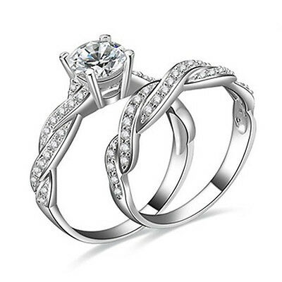 2 Pcs Women's 925 Sterling Silver Rhinestone Engagement Wedding Ring Set Unique