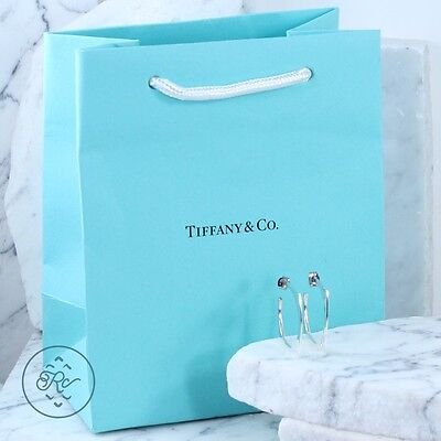 Sterling Silver 14K Gold - TIFFANY & CO Squared J-Hoop - Post Earrings