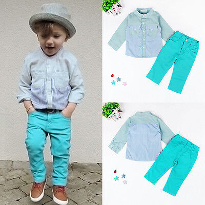 2pcs Toddler Baby Boys Kids Shirt Tops+Long Pants Trousers Outfits Gentleman Set