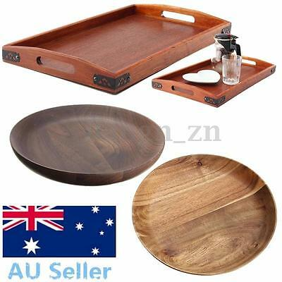 Au Natural Wood Serving Tray Tea Food Server Dishes Round Rectangle Wooden Plate