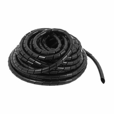 10mm Dia 8M Length Cable Wire Tidy Wrap Spiral Wrapping Band Organizer Black