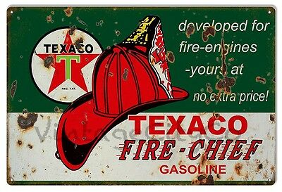 """Antique Style """"Texaco Fire Chief"""" Gasoline Advertisement Metal Sign - Rusted"""