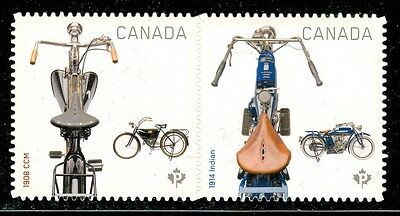 Canada #2647i - 2648i 2013 Motorcycles 1908 CCM & 1914 Indian Die Cut  MNH