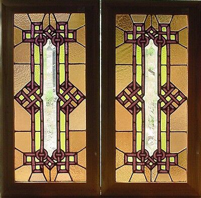 Pr. Antique American Stained and Beveled Glass Windows