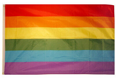 Rainbow Quality Large 5ft x 3ft Flag Gay Pride Lesbian Peace Flag Multi Coloured