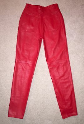 VTG RARE 80s BERGDORF GOODMAN RED LEATHER SKINNY PANTS HIGH WAIST SZ 4 (25)