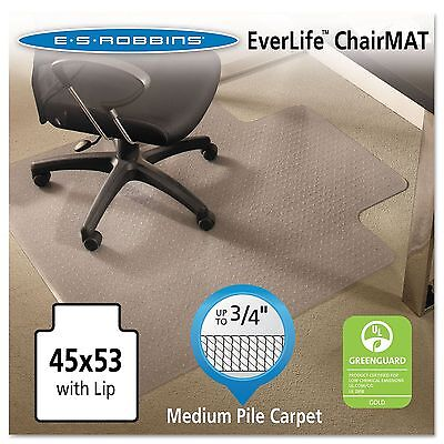 ES Robbins 122173 EverLife Chair Mats For Medium Pile Carpet With Lip 45 x 53