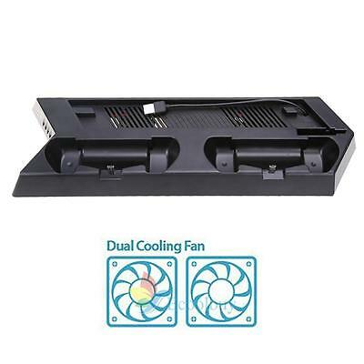 NEW Vertical Stand Cooling Fan w/ Dual USB Charging Station for PS4 Slim Console