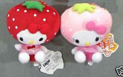 Lot 2pcs 16cm Sit Red&Pink Plush Strawberry Hello Kitty KT Toys New
