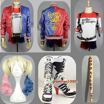 Cosplay Harley Quinn Costume Lot Suicide Squad Belt Holster Baseball Bat Tattoos