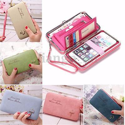 UK Donne Portafoglio Telefono Borsa Borsellino Carta Porta Lunga Wallet Purse