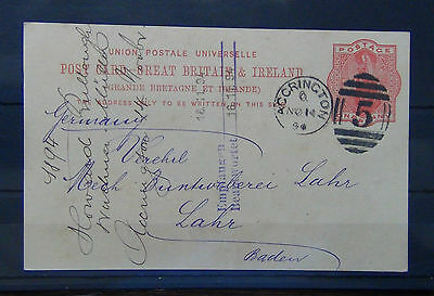 Great Britain 1890 1d prepaid postcard to Germany Used