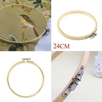 Wooden Cross Stitch Machine Embroidery Hoops Ring Bamboo Sewing Tools 24CM SS