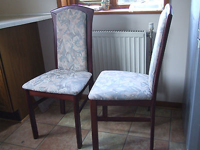 pair wooden chairs with upholstered seats and backs,  dining , hall.