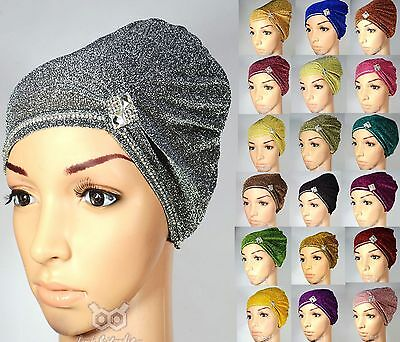 NEW Shimmer Diamante Turban Bonnet Hat Cap Under Scarf Hijab Jersey Chemo Plain