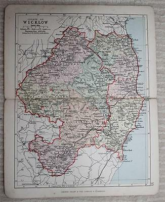 1890 Philips Map of County Wicklow, Ireland