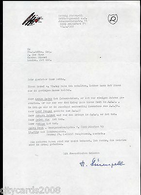 1989 Typed Letter from WW2 German  Pilot Hennig Strumpell