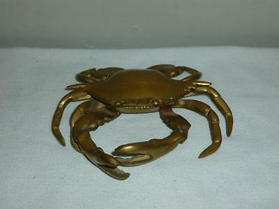 Vintage Brass Crab Ashtray Hinged Lid Trinket Box-Ashtray Nautical Decor-BL