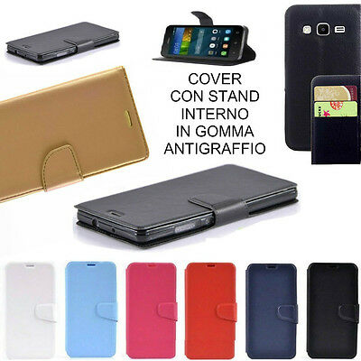 Flip Cover A Libretto Agenda In Pelle Per Samsung Galaxy Core Prime Ve Sm-G361F