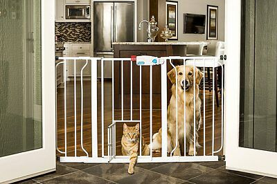 Extra-Wide Walk-Thru Gate With Small Pet Opening Door Safety Gate - 2 In 1 Gate
