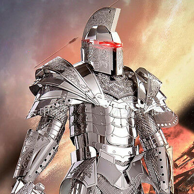DIY Funny 3D Metal Puzzle Black Knight Armor Soldier Models Laser Jigsaw Toys