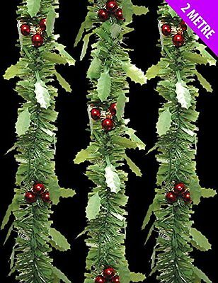 Christmas Green Garland Tinsel Holly Berry Christmas Tree Decoration Garland 2m