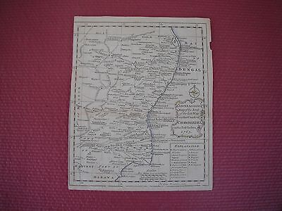 """1763 MAP of the Coast of CHOROMANDEL in East Indies and BAY of BENGAL 8"""" x 10"""""""