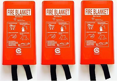 3 x KITEMARKED Fire Blanket 1m x 1m  for Home Office Kitchen. BS EN