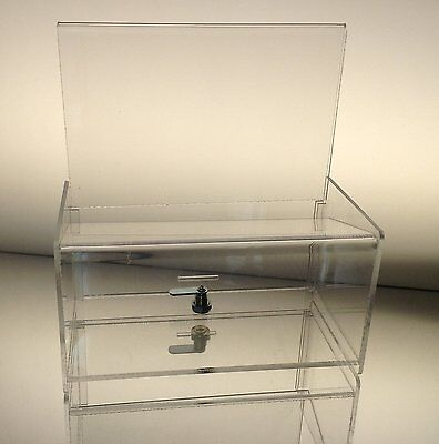 Acrylic Donation Box Dazzling Displays Clear Easy Drop charity money new