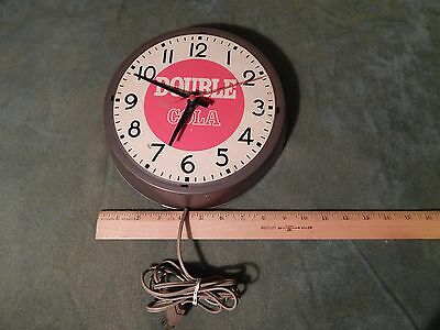 Double Cola *Industrial* Metal (WALL CLOCK) *Tested* (Vtg.) Ingraham (USA) RETRO